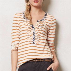 Anthropologie Postage Stamp Stripe Ruffle Top